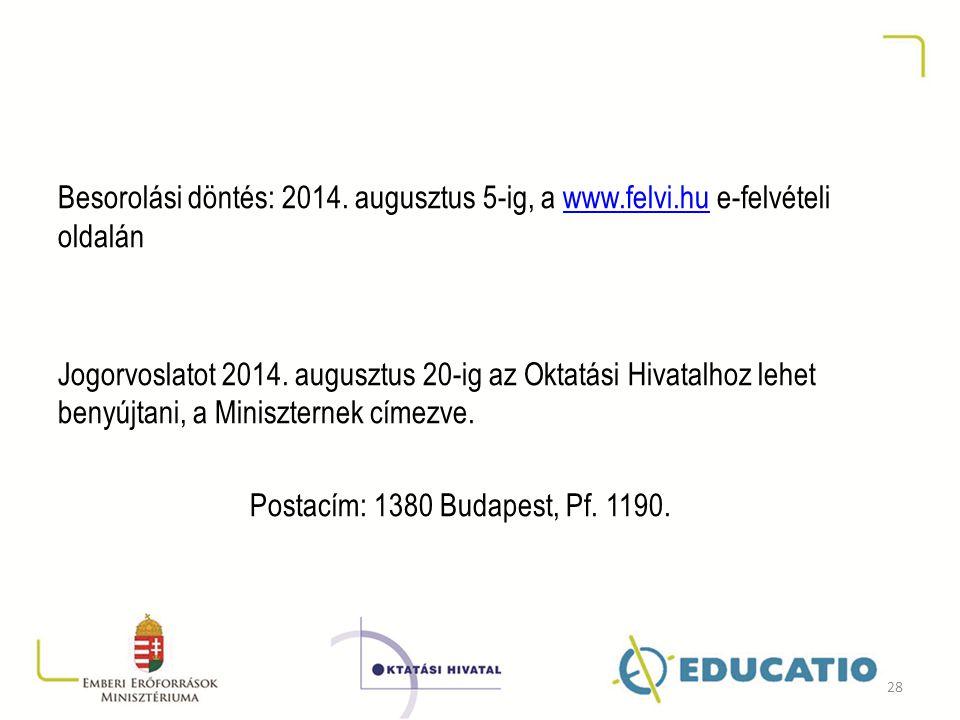 Besorolási döntés: 2014. augusztus 5-ig, a www.felvi.hu e-felvételi oldalánwww.felvi.hu Jogorvoslatot 2014. augusztus 20-ig az Oktatási Hivatalhoz leh