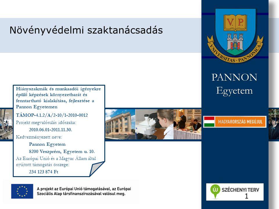 Hiányszakmák és munkaadói igényekre épülő képzések környezetbarát és fenntartható kialakítása, fejlesztése a Pannon Egyetemen TÁMOP-4.1.2/A/2-10/1-2010-0012 Projekt megvalósulás időszaka: 2010.06.01-2011.11.30.