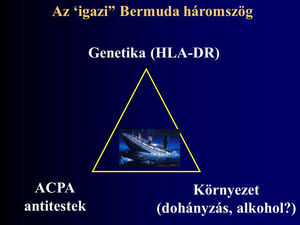 """Genetika (HLA-DR) ACPA antitestek Környezet (dohányzás, alkohol?) Az 'igazi"""" Bermuda háromszög"""