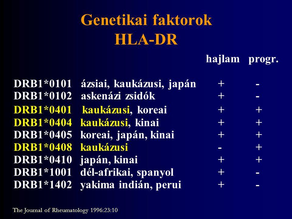 Genetikai faktorok HLA-DR hajlam progr. DRB1*0101 ázsiai, kaukázusi, japán+ - DRB1*0102 askenázi zsidók+ - DRB1*0401 kaukázusi, koreai+ + DRB1*0404 ka