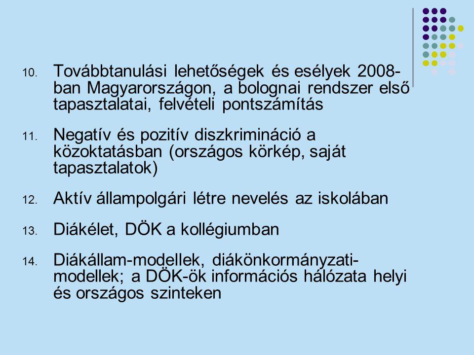 10. Továbbtanulási lehetőségek és esélyek 2008- ban Magyarországon, a bolognai rendszer első tapasztalatai, felvételi pontszámítás 11. Negatív és pozi
