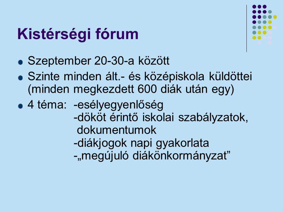 Kistérségi fórum Szeptember 20-30-a között Szinte minden ált.- és középiskola küldöttei (minden megkezdett 600 diák után egy) 4 téma: -esélyegyenlőség