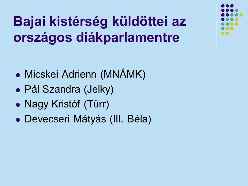 Bajai kistérség küldöttei az országos diákparlamentre Micskei Adrienn (MNÁMK) Pál Szandra (Jelky) Nagy Kristóf (Türr) Devecseri Mátyás (III. Béla)
