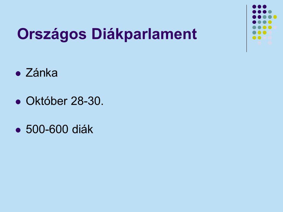 Országos Diákparlament Zánka Október 28-30. 500-600 diák