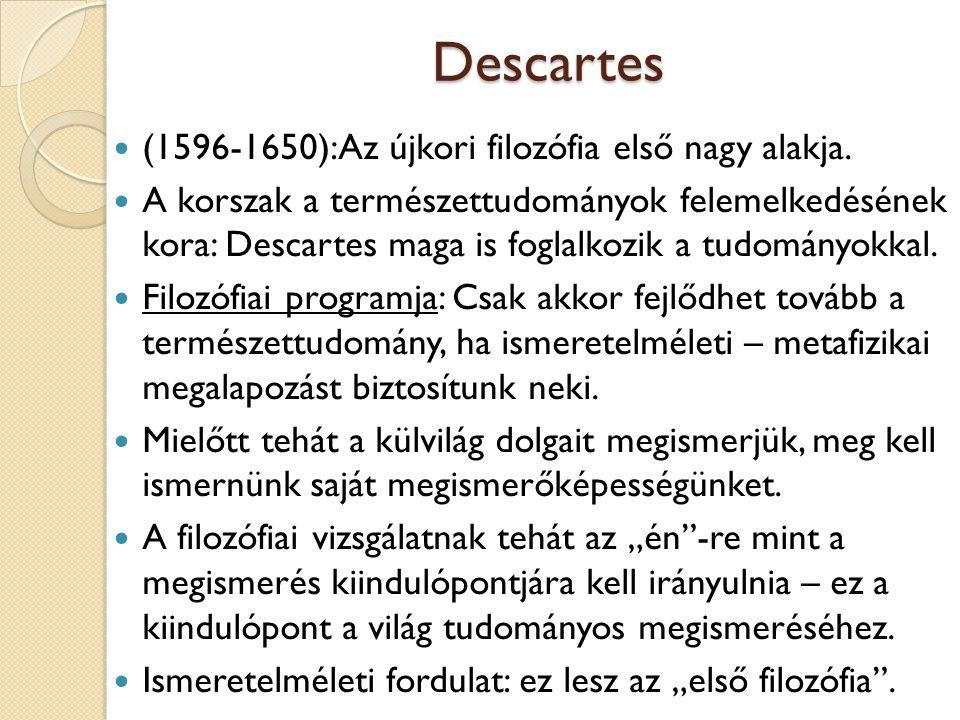 """Descartes Módeszere: Csak azt fogadjuk el valódi ismeretnek, amit az elme """"tisztán és elkülönítetten megragad ."""