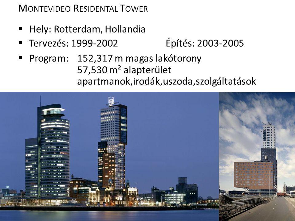 M ONTEVIDEO R ESIDENTAL T OWER  Hely: Rotterdam, Hollandia  Tervezés: 1999-2002Építés: 2003-2005  Program: 152,317 m magas lakótorony 57,530 m² alapterület apartmanok,irodák,uszoda,szolgáltatások