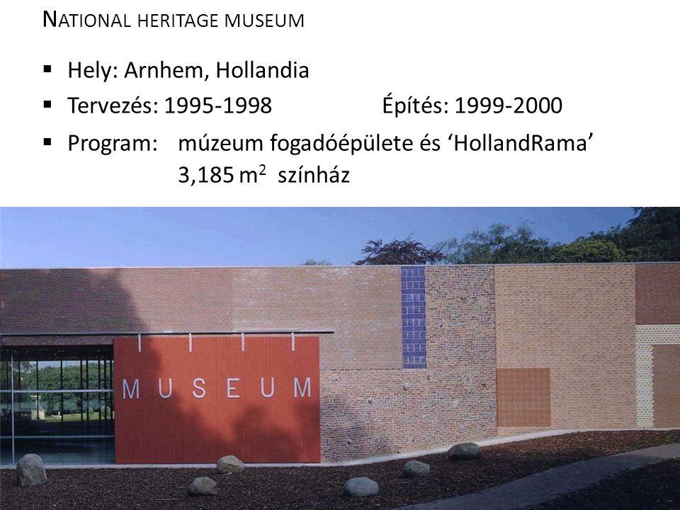N ATIONAL HERITAGE MUSEUM  Hely: Arnhem, Hollandia  Tervezés: 1995-1998Építés: 1999-2000  Program: múzeum fogadóépülete és 'HollandRama ' 3,185 m 2 színház
