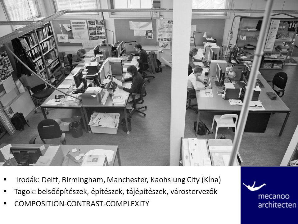  Irodák: Delft, Birmingham, Manchester, Kaohsiung City (Kína)  Tagok: belsőépítészek, építészek, tájépítészek, várostervezők  COMPOSITION-CONTRAST-COMPLEXITY