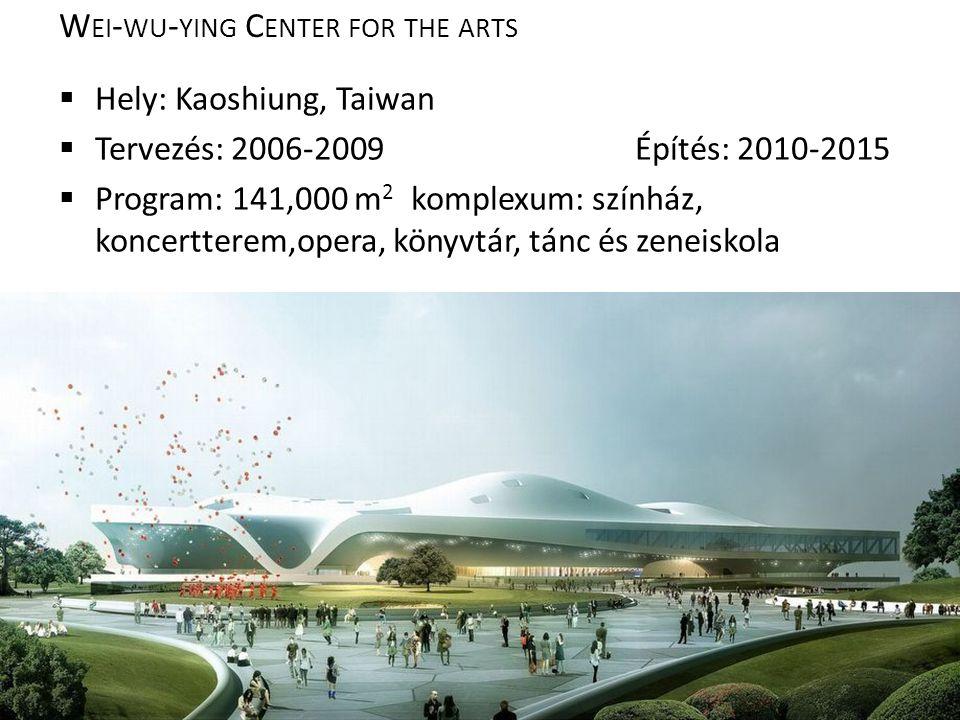 W EI - WU - YING C ENTER FOR THE ARTS  Hely: Kaoshiung, Taiwan  Tervezés: 2006-2009Építés: 2010-2015  Program: 141,000 m 2 komplexum: színház, koncertterem,opera, könyvtár, tánc és zeneiskola