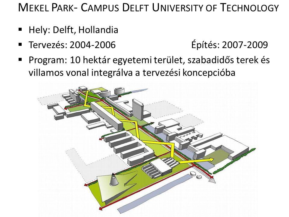 M EKEL P ARK - C AMPUS D ELFT U NIVERSITY OF T ECHNOLOGY  Hely: Delft, Hollandia  Tervezés: 2004-2006Építés: 2007-2009  Program: 10 hektár egyetemi terület, szabadidős terek és villamos vonal integrálva a tervezési koncepcióba