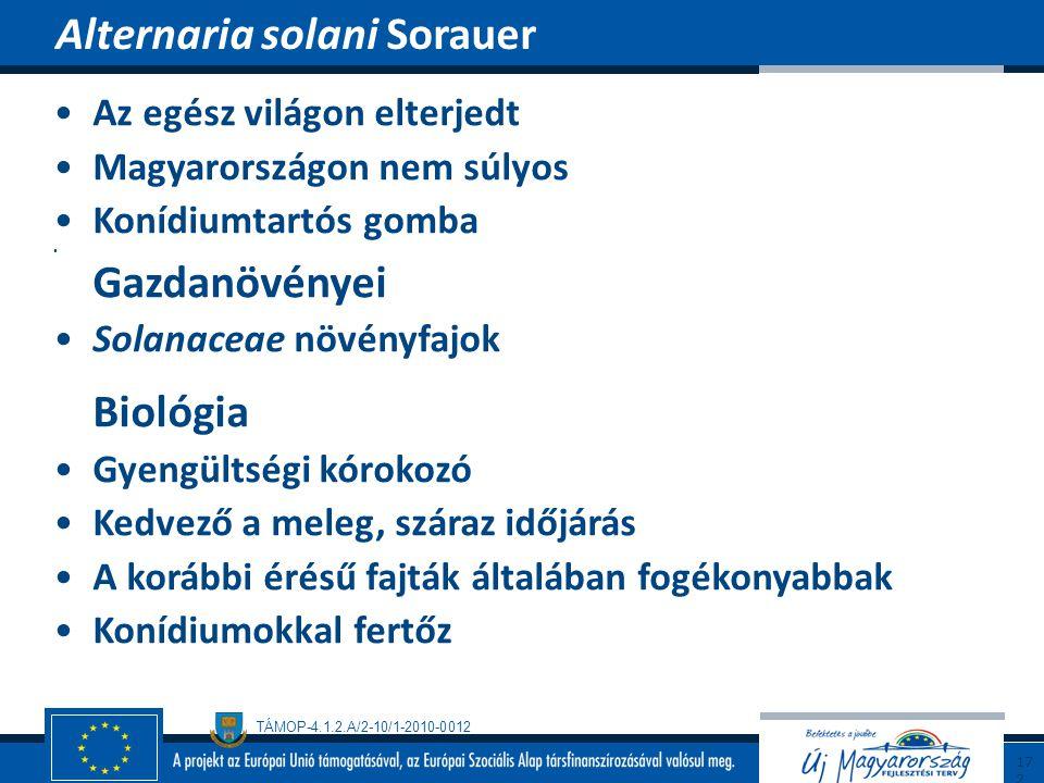 TÁMOP-4.1.2.A/2-10/1-2010-0012 Az egész világon elterjedt Magyarországon nem súlyos Konídiumtartós gomba Gazdanövényei Solanaceae növényfajok Biológia