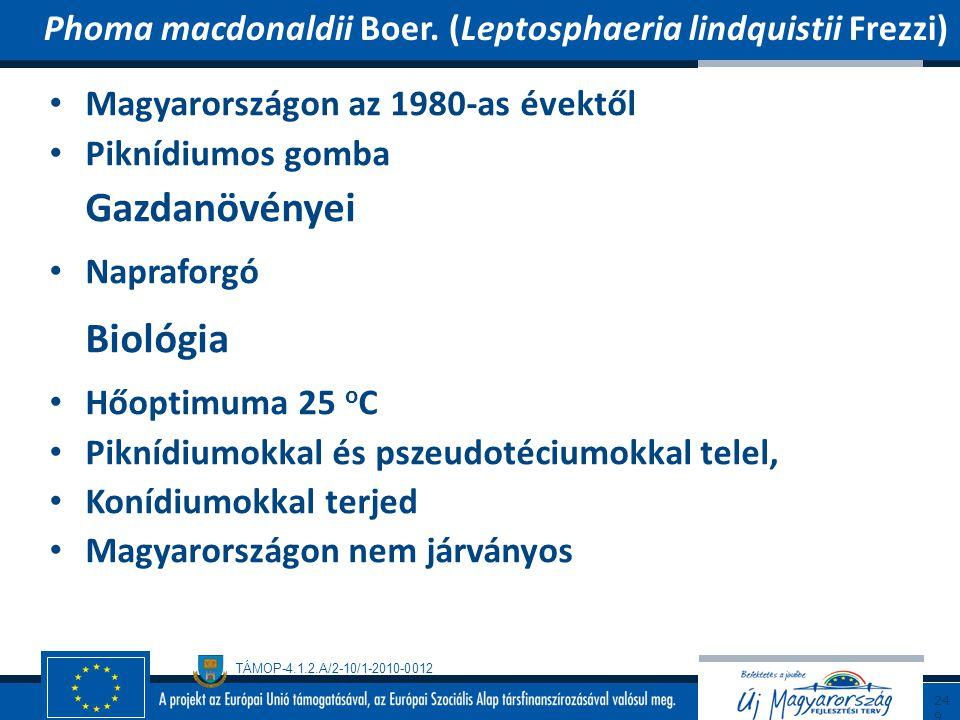 TÁMOP-4.1.2.A/2-10/1-2010-0012 Magyarországon az 1980-as évektől Piknídiumos gomba Gazdanövényei Napraforgó Biológia Hőoptimuma 25 o C Piknídiumokkal