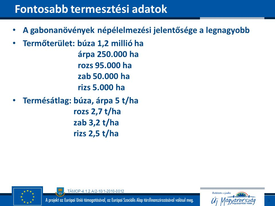 TÁMOP-4.1.2.A/2-10/1-2010-0012 A gabonanövények népélelmezési jelentősége a legnagyobb Termőterület: búza 1,2 millió ha árpa 250.000 ha rozs 95.000 ha