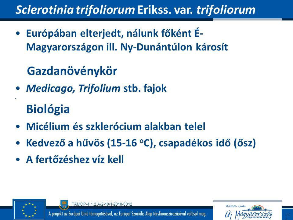 TÁMOP-4.1.2.A/2-10/1-2010-0012 Európában elterjedt, nálunk főként É- Magyarországon ill. Ny-Dunántúlon károsít Gazdanövénykör Medicago, Trifolium stb.