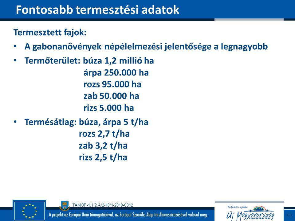 TÁMOP-4.1.2.A/2-10/1-2010-0012 Termesztett fajok: A gabonanövények népélelmezési jelentősége a legnagyobb Termőterület: búza 1,2 millió ha árpa 250.00