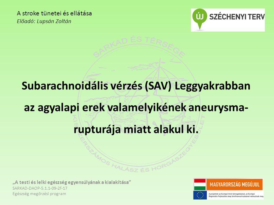 """Subarachnoidális vérzés (SAV) Leggyakrabban az agyalapi erek valamelyikének aneurysma- rupturája miatt alakul ki. """"A testi és lelki egészség egyensúly"""