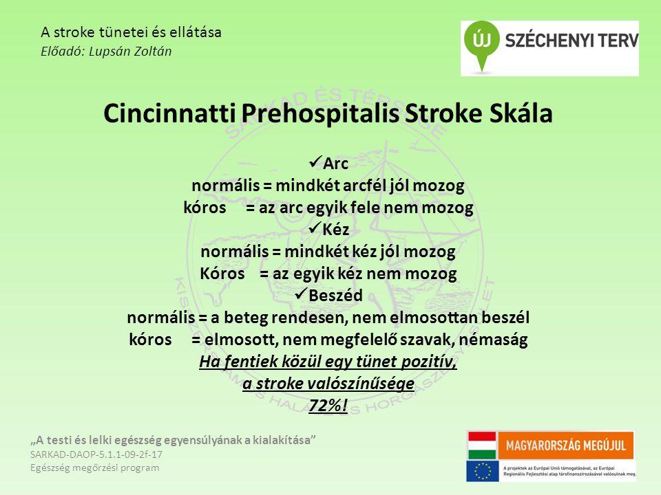 Cincinnatti Prehospitalis Stroke Skála Arc normális = mindkét arcfél jól mozog kóros = az arc egyik fele nem mozog Kéz normális = mindkét kéz jól mozog Kóros = az egyik kéz nem mozog Beszéd normális = a beteg rendesen, nem elmosottan beszél kóros = elmosott, nem megfelelő szavak, némaság Ha fentiek közül egy tünet pozitív, a stroke valószínűsége 72%.