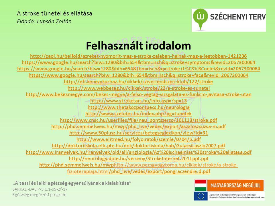 Felhasznált irodalom http://zaol.hu/belfold/ezreket-nyomorit-meg-a-stroke-zalaban-halnak-meg-a-legtobben-1421236 https://www.google.hu/search?biw=1280