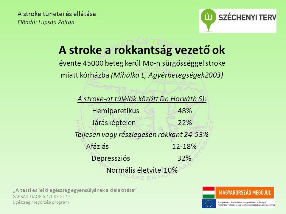 A stroke a rokkantság vezető ok évente 45000 beteg kerül Mo-n sürgősséggel stroke miatt kórházba (Mihálka L, Agyérbetegségek2003) A stroke-ot túlélők