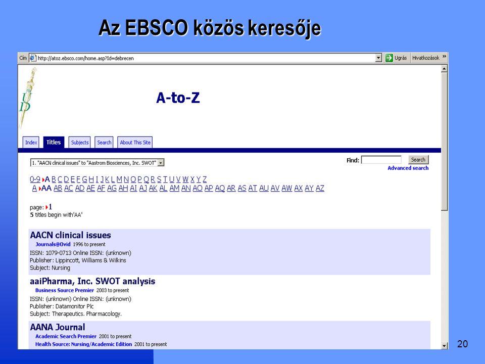 20 Az EBSCO közös keresője