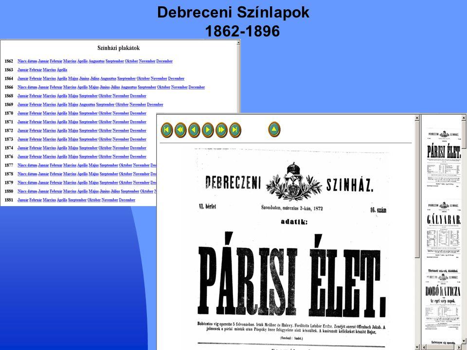 25 Debreceni Színlapok 1862-1896