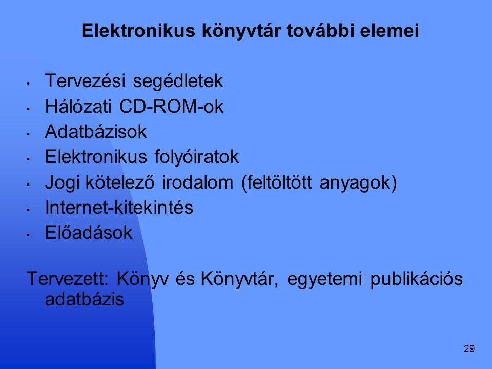 29 Elektronikus könyvtár további elemei Tervezési segédletek Hálózati CD-ROM-ok Adatbázisok Elektronikus folyóiratok Jogi kötelező irodalom (feltöltöt
