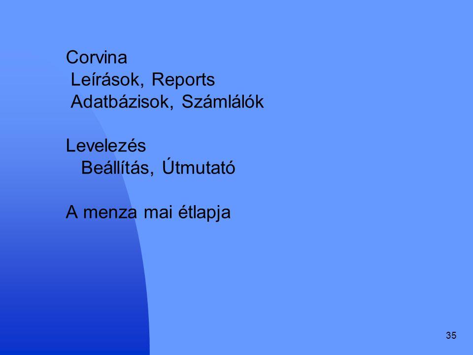 35 Corvina Leírások, Reports Adatbázisok, Számlálók Levelezés Beállítás, Útmutató A menza mai étlapja