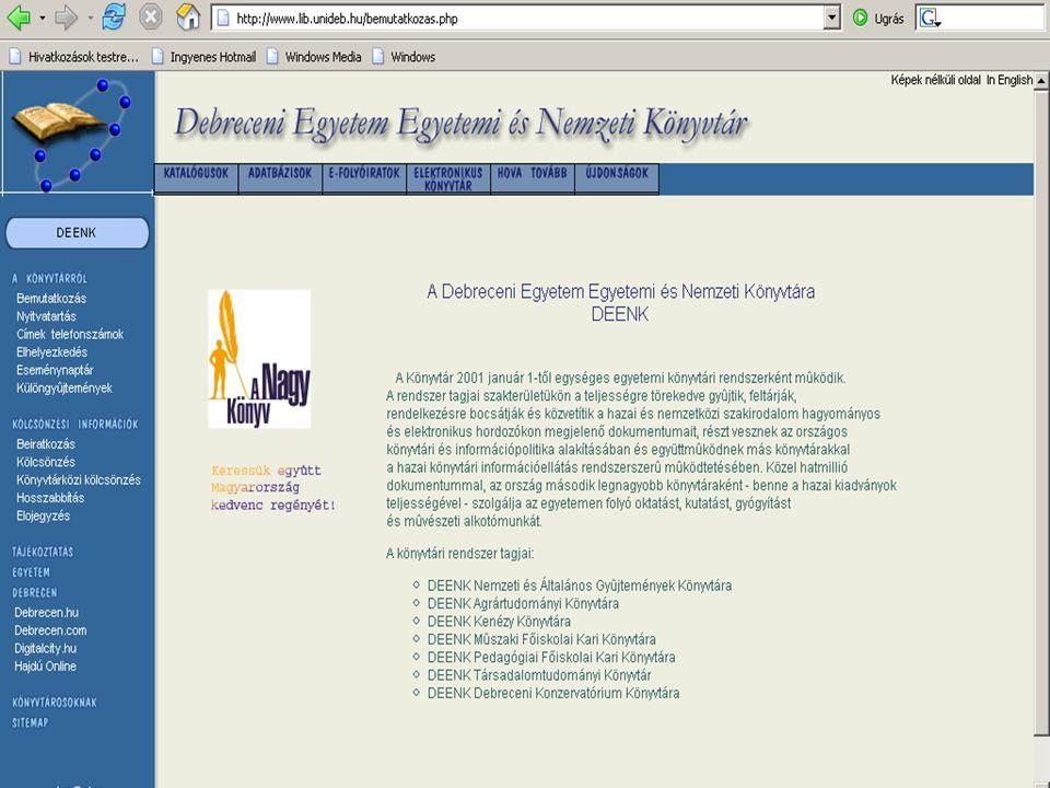 17 E-folyóiratok Folyóirat-gyűjtemények teljes szöveges hozzáféréssel (kiemeltek) Academic Search Premier (EBSCO), Business Source Premier (EBSCO), Electronic Journals Service (EBSCO), Health Source (EBSCO) (elgépelt link), Highwire, JSTOR, Nature, Science Direct (EISZ), SwetsWise Magyar folyóirat-gyűjtemények teljes szöveges hozzáféréssel Elektronikus Periodika Archívum Adatbázis, Magyar kiadású tudományos folyóiratok (EISZ)