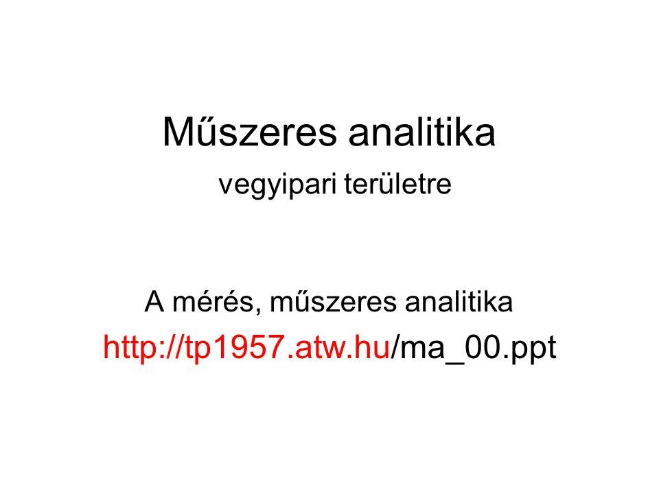 Műszeres analitika vegyipari területre A mérés, műszeres analitika http://tp1957.atw.hu/ma_00.ppt