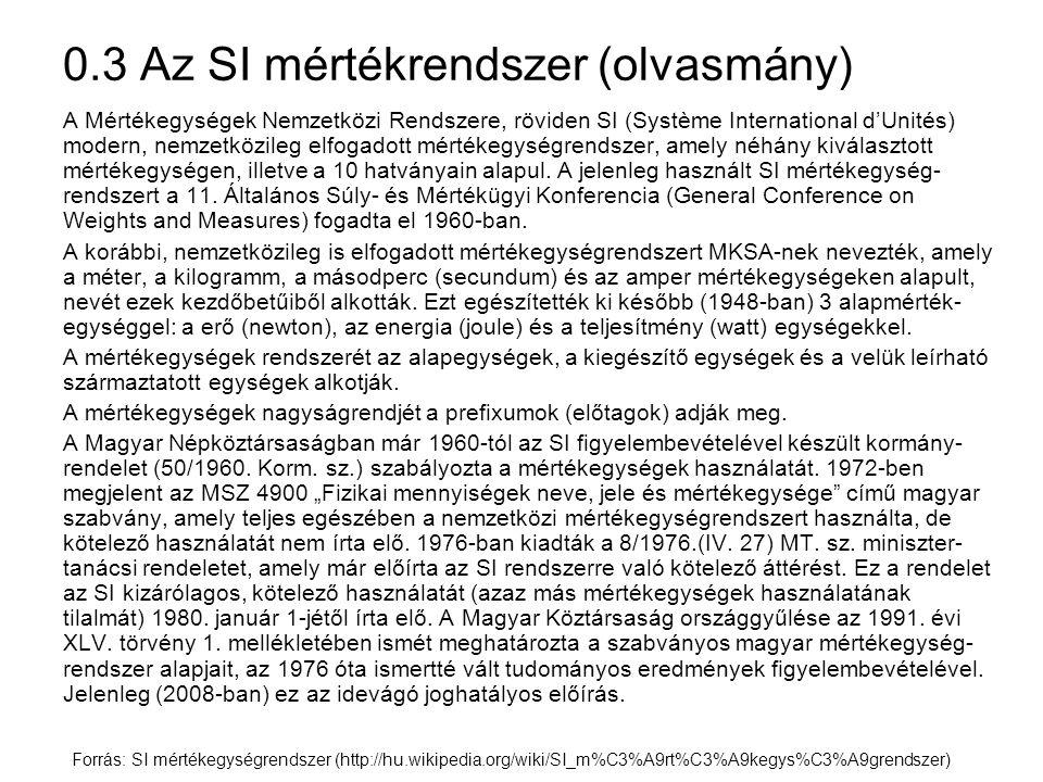 0.3 Az SI mértékrendszer (olvasmány) A Mértékegységek Nemzetközi Rendszere, röviden SI (Système International d'Unités) modern, nemzetközileg elfogado