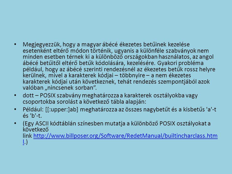 Megjegyezzük, hogy a magyar ábécé ékezetes betűinek kezelése esetenként eltérő módon történik, ugyanis a különféle szabványok nem minden esetben térne