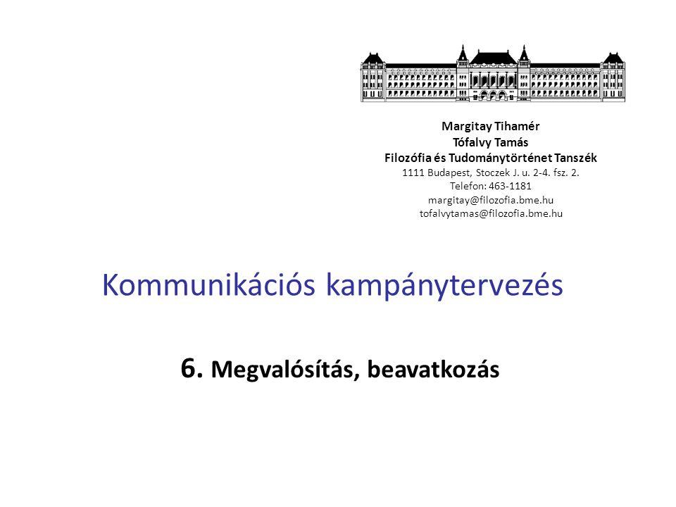 Kommunikációs kampánytervezés 6. Megvalósítás, beavatkozás Margitay Tihamér Tófalvy Tamás Filozófia és Tudománytörténet Tanszék 1111 Budapest, Stoczek