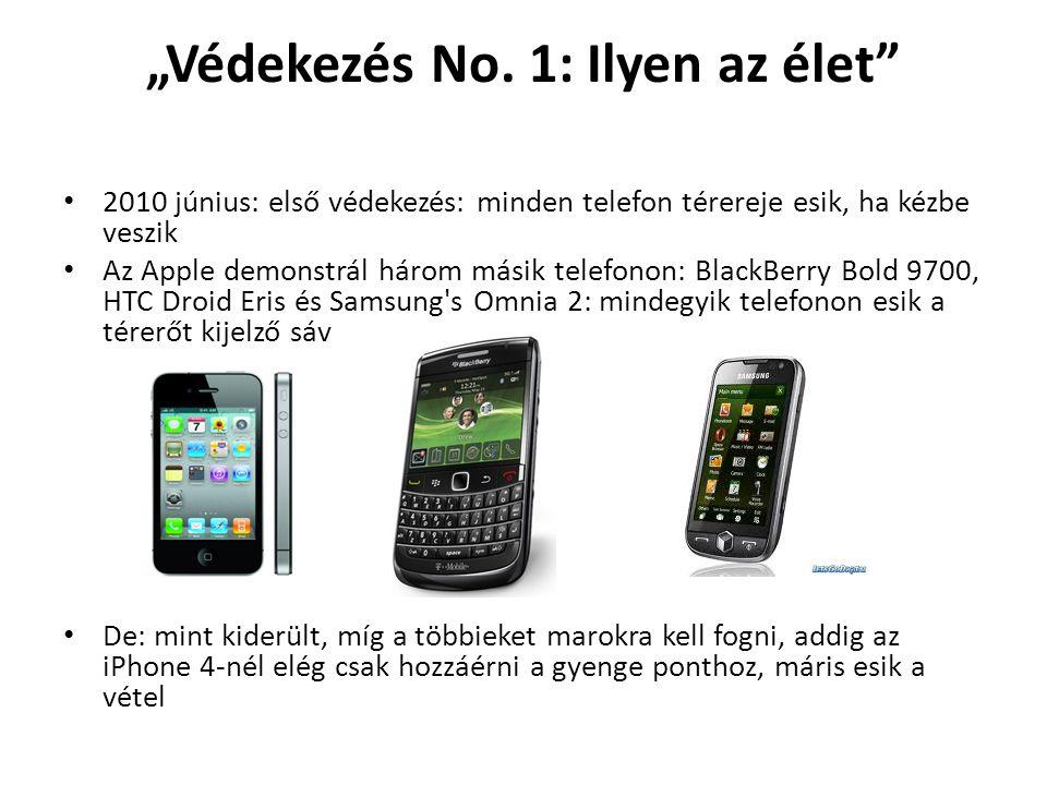 """""""Védekezés No. 1: Ilyen az élet"""" 2010 június: első védekezés: minden telefon térereje esik, ha kézbe veszik Az Apple demonstrál három másik telefonon:"""