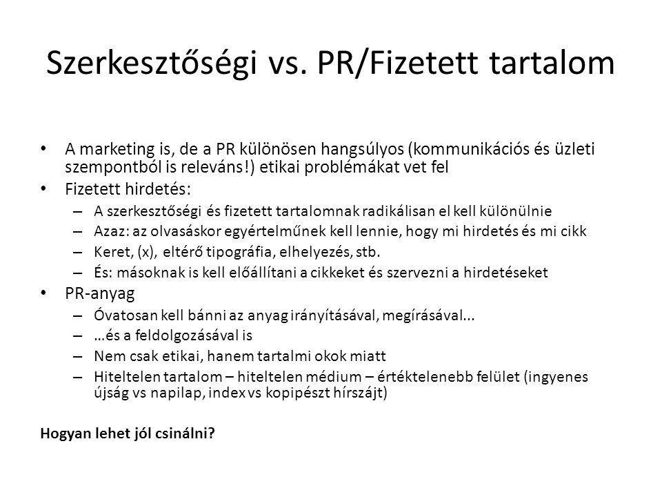 Szerkesztőségi vs. PR/Fizetett tartalom A marketing is, de a PR különösen hangsúlyos (kommunikációs és üzleti szempontból is releváns!) etikai problém