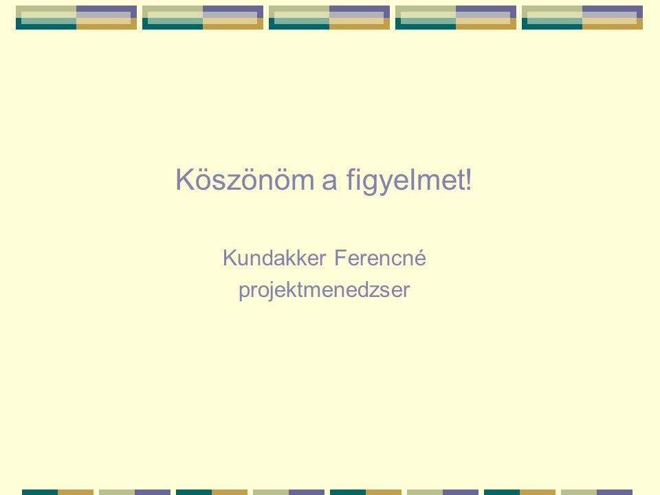 Köszönöm a figyelmet! Kundakker Ferencné projektmenedzser