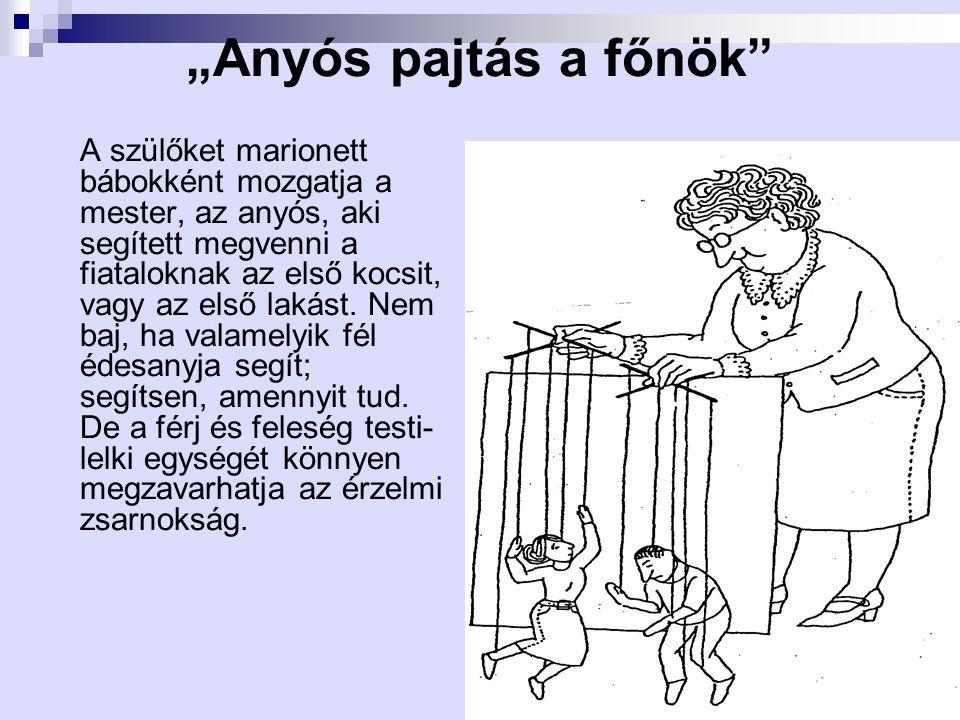 """""""Anyós pajtás a főnök"""" A szülőket marionett bábokként mozgatja a mester, az anyós, aki segített megvenni a fiataloknak az első kocsit, vagy az első la"""