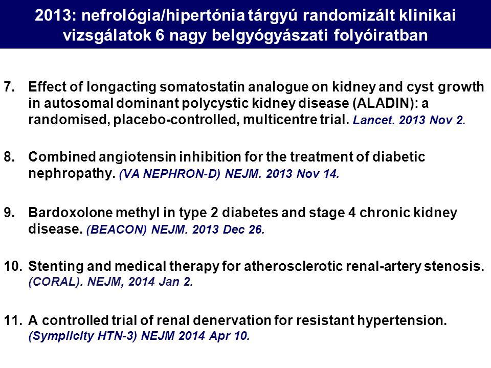 2013: nefrológia/hipertónia tárgyú randomizált klinikai vizsgálatok 6 nagy belgyógyászati folyóiratban 1.Peginesatide for anemia in patients with chronic kidney disease not receiving dialysis.