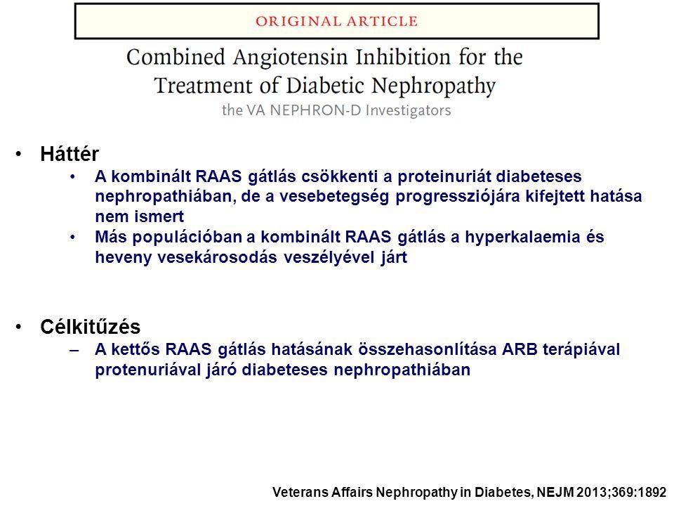 Háttér A kombinált RAAS gátlás csökkenti a proteinuriát diabeteses nephropathiában, de a vesebetegség progressziójára kifejtett hatása nem ismert Más populációban a kombinált RAAS gátlás a hyperkalaemia és heveny vesekárosodás veszélyével járt Célkitűzés –A kettős RAAS gátlás hatásának összehasonlítása ARB terápiával protenuriával járó diabeteses nephropathiában Veterans Affairs Nephropathy in Diabetes, NEJM 2013;369:1892