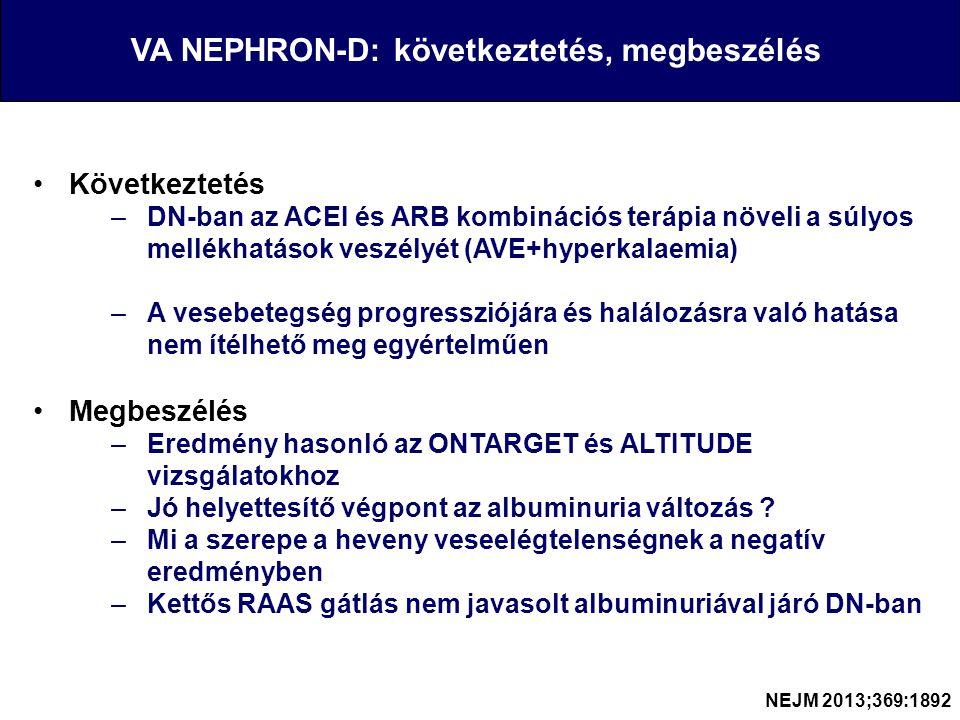 Következtetés –DN-ban az ACEI és ARB kombinációs terápia növeli a súlyos mellékhatások veszélyét (AVE+hyperkalaemia) –A vesebetegség progressziójára és halálozásra való hatása nem ítélhető meg egyértelműen Megbeszélés –Eredmény hasonló az ONTARGET és ALTITUDE vizsgálatokhoz –Jó helyettesítő végpont az albuminuria változás .