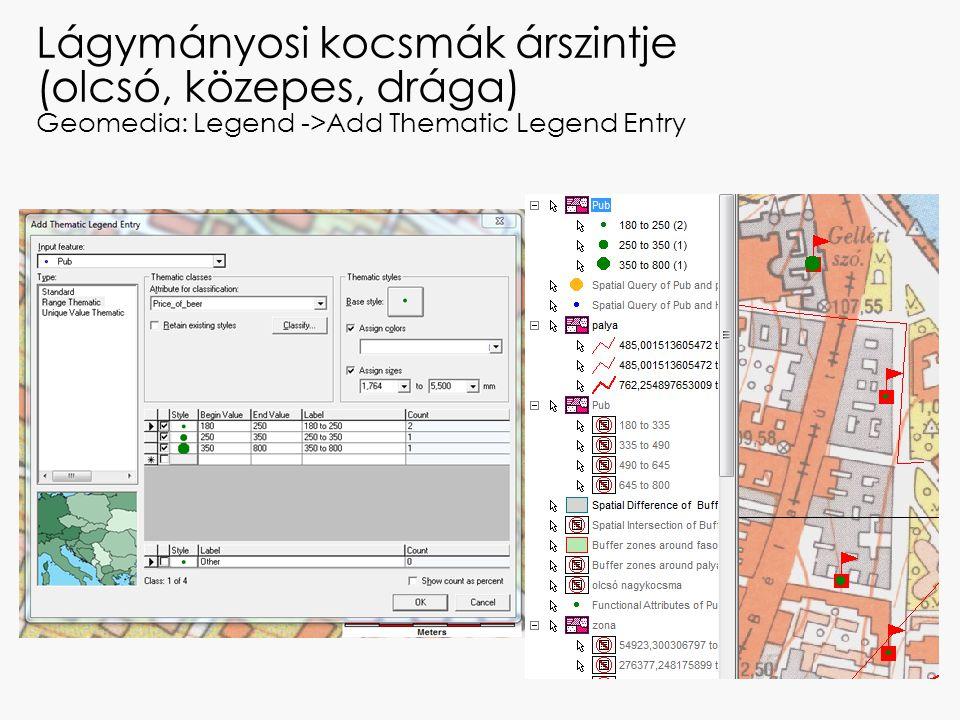 Lágymányosi kocsmák árszintje (olcsó, közepes, drága) Geomedia: Legend ->Add Thematic Legend Entry