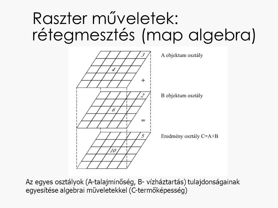 Raszter műveletek: rétegmesztés (map algebra) Az egyes osztályok (A-talajminőség, B- vízháztartás) tulajdonságainak egyesítése algebrai műveletekkel (C-termőképesség)