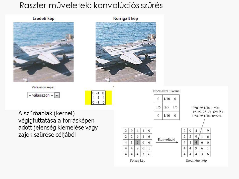 Raszter műveletek: konvolúciós szűrés A szűrőablak (kernel) végigfuttatása a forrásképen adott jelenség kiemelése vagy zajok szűrése céljából