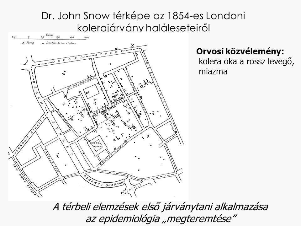 """Dr. John Snow térképe az 1854-es Londoni kolerajárvány haláleseteiről A térbeli elemzések első járványtani alkalmazása az epidemiológia """"megteremtése"""""""