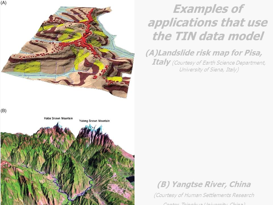 (A)Landslide risk map for Pisa, Italy (Courtesy of Earth Science Department, University of Siena, Italy) (B) Yangtse River, China (Courtesy of Human S