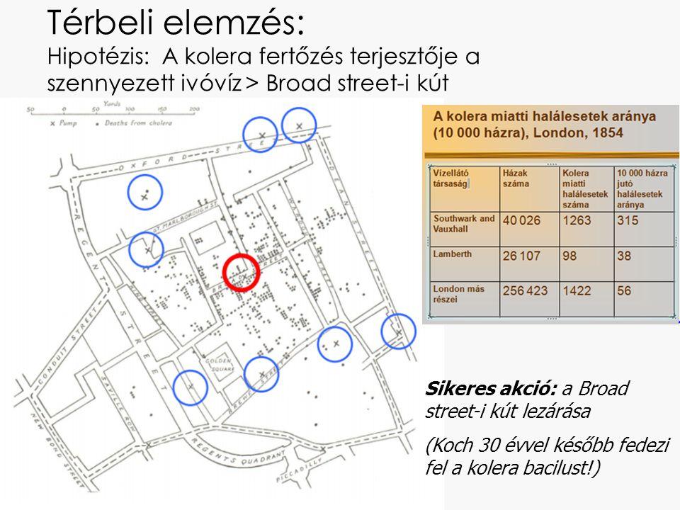 Térbeli elemzés: Hipotézis: A kolera fertőzés terjesztője a szennyezett ivóvíz > Broad street-i kút Sikeres akció: a Broad street-i kút lezárása (Koch 30 évvel később fedezi fel a kolera bacilust!)
