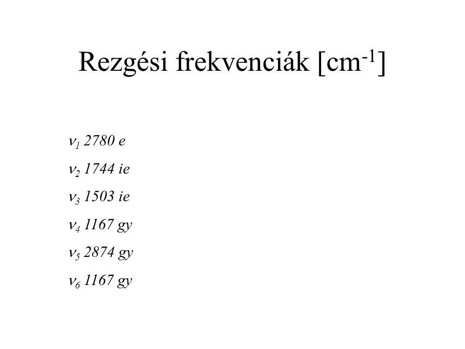 Rezgési frekvenciák [cm -1 ] 1 2780 e 2 1744 ie 3 1503 ie 4 1167 gy 5 2874 gy 6 1167 gy