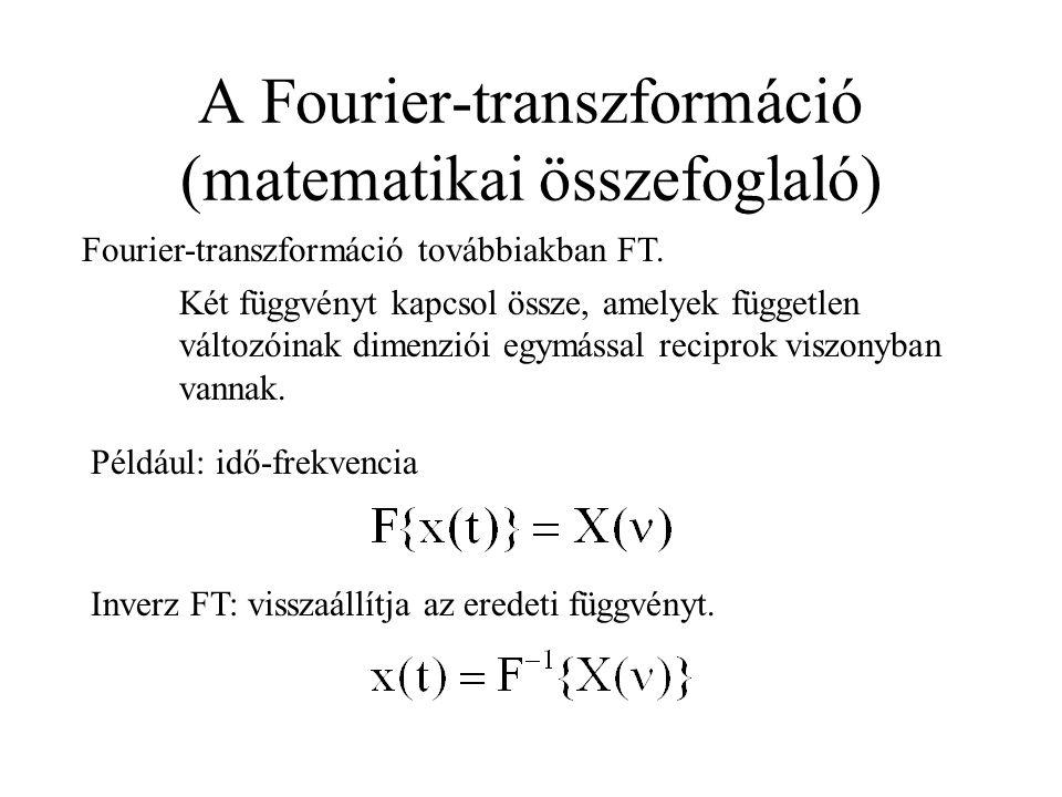 A Fourier-transzformáció (matematikai összefoglaló) Fourier-transzformáció továbbiakban FT. Két függvényt kapcsol össze, amelyek független változóinak