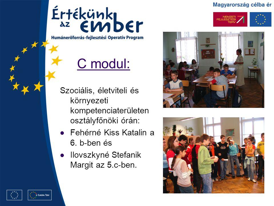 C modul: Szociális, életviteli és környezeti kompetenciaterületen osztályfőnöki órán: Fehérné Kiss Katalin a 6.
