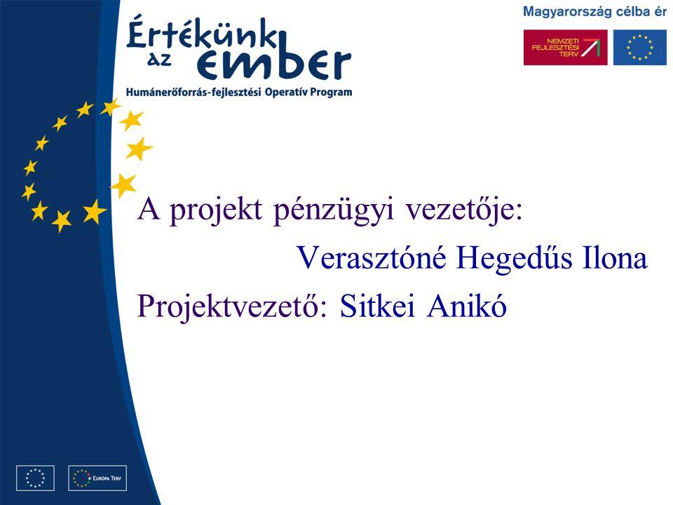 A projekt pénzügyi vezetője: Verasztóné Hegedűs Ilona Projektvezető: Sitkei Anikó