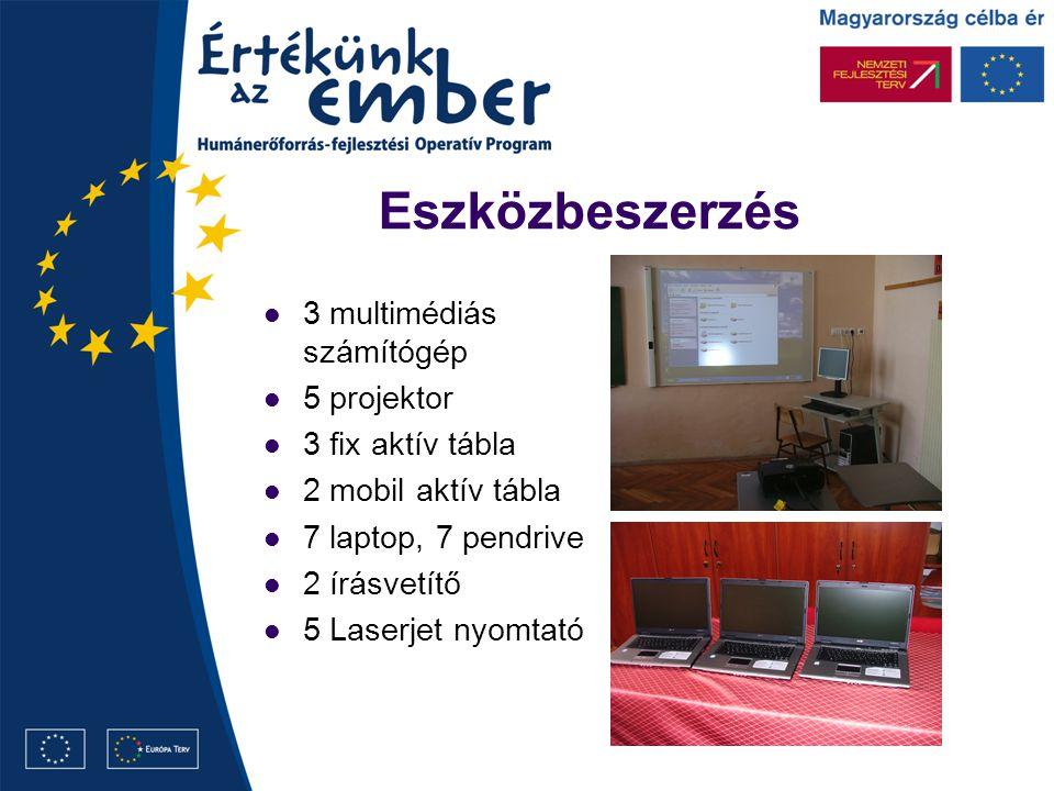Eszközbeszerzés 3 multimédiás számítógép 5 projektor 3 fix aktív tábla 2 mobil aktív tábla 7 laptop, 7 pendrive 2 írásvetítő 5 Laserjet nyomtató